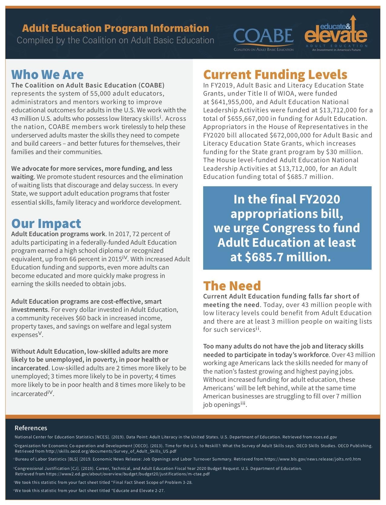 Educate & Elevate Data sheet